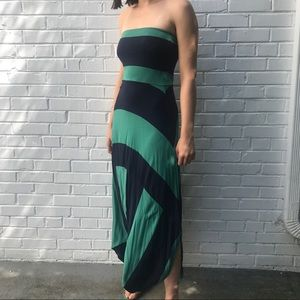 Navy blue green striped swimsuit coverup maxidress